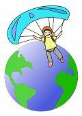 Parachute around the world