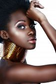 stock photo of nose ring  - beautiful south African woman with bronze necklace and natural make - JPG