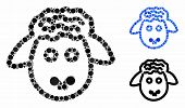 Sheep Head Mosaic Of Round Dots In Variable Sizes And Color Tints, Based On Sheep Head Icon. Vector  poster