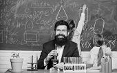 School Teacher Of Biology. Man Bearded Teacher Work With Microscope And Test Tubes In Biology Classr poster