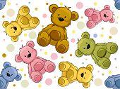 Seamless Illustration Featuring Teddy Bears