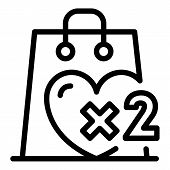 Double Bonus Purchase Icon. Outline Double Bonus Purchase Vector Icon For Web Design Isolated On Whi poster
