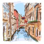 Venice - water canal, old buildings & gondola away. Bitmap copy my vector