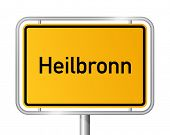 City limit sign Heilbronn against white background - signage - Baden Wuerttemberg, Baden W�?�¼rtt