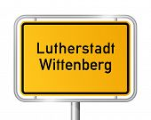 City limit sign Lutherstadt Wittenberg against white background - signage - Saxony Anhalt, Sachsen A