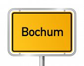 City limit sign Bochum against white background - signage - North Rhine Westphalia, Nordrhein Westfa