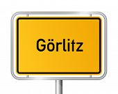 City limit sign Goerlitz against white background - signage - Saxony - G�?�¶rlitz, Sachsen, Germa