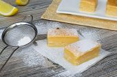 Lemon Bars Powdered With Sugar