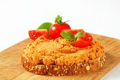 bread with meat spicy pate and fresh tomatoes poster