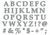 picture of semi-colon  - Platinum plastic chrome alphabet letters in uppercase - JPG