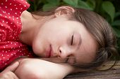 picture of inner ear  - Portrait of sleeping beautiful girl in a red dress - JPG