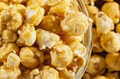 image of popcorn  - Homemade Fresh Popped Caramel PopCorn ready to eat - JPG
