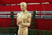 LOS ANGELES - FEB 21: Oscar statue at the arrivals area at the Oscars held at the Dolby Theater in L