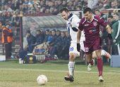 CLUJ-NAPOCA, ROMANIA - FEBRUARY 21: Antonio Cassano and Cadu in UEFA Europa League match, CFR 1907 Cluj vs UInter Milan, on 21 February, 2013 in Cluj-Napoca, Romania