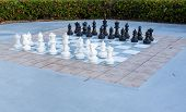 Full Set Of Pieces Outdoor Chess In Garden