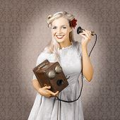 Smiling Vintage Woman Hearing Good News On Phone