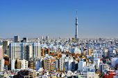 stock photo of kanto  - The Tokyo Sky Tree towers above the dense skyline of Tokyo - JPG