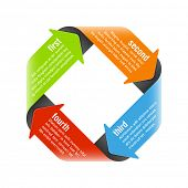Four steps process arrows - design element. Vector.