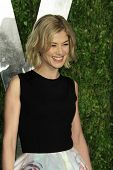 WEST HOLLYWOOD, CA - FEB 24: Rosamund Pike at the Vanity Fair Oscar Party at Sunset Tower on February 24, 2013 in West Hollywood, California
