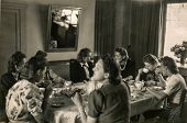 POZNAN, POLAND - CIRCA 1936: a group of unidentified young women is drinking tea during a tea party,