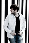 PARIS, FRANCE - APRIL 25, 2008: Portrait of the british rock group Kasabian's singer Tom Meighan at