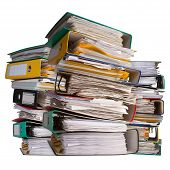 image of accumulative  - Piles Of File Binder With Documents  - JPG