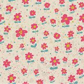Floral design element in vector. Seamless pattern in retro colors