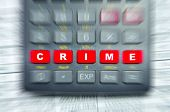Conceptual Photo Of A Calculator With The Word Crime Writen On It.