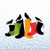 black birds resting on rubber rainboots