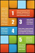 Five options square numbered presentation template with space for additional info