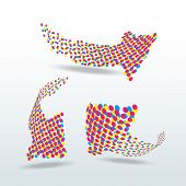 cmyk dotted arrows icon set vector illustration