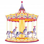 image of carousel horse  - Vector illustration of fun merry - JPG