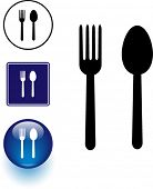 Spoon and fork symbol sign and button