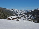 image of saanen  - View from the ski area Eggli hut and mountains - JPG