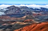 stock photo of volcanic  - Caldera of the Haleakala volcano  Maui, Hawaii  - HDR image