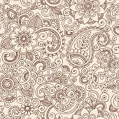 stock photo of outline  - Henna Mehndi Tattoo Doodles Seamless Pattern - JPG