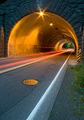 Tail Lights Through Tunnel