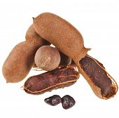 Ripe tamarind fruit , open pods close up isolate on white background