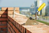 stock photo of mason  - construction mason work tools - JPG