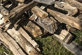 Old wooden beams with nails