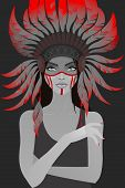 picture of headdress  - Beautiful girl in a headdress of feathers - JPG