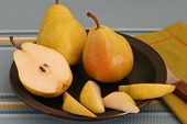 Ripe Barlett Pears On A Plate