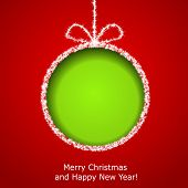 Abstract Xmas greeting card with green Christmas ball cutted from red paper background. Vector eps10