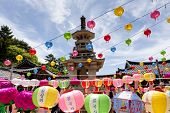GYEONGIU kOREA MAY 17: People are visiting the Bulguksa Temple with hanging lanterns for celebrating