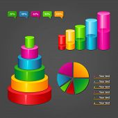 picture of cylinder pyramid  - Set of colorful glossy vector diagrams icons for your business presentations - JPG