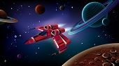 stock photo of spaceships  - Cartoon spaceship with planetsstars and space background - JPG