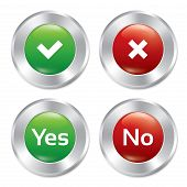 Metallic yes, no buttons template set.