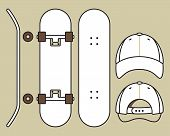 stock photo of skateboard  - Set of blank skateboard and cap templates - JPG