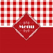 Stylish menu design with a gingham style pattern