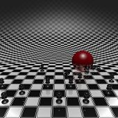 Pawns And Ball On Checkerboard